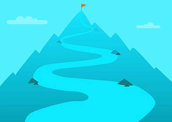 高い山に登る遠い道のりのイラスト